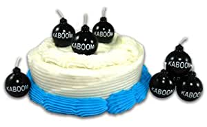 Set of 6 KABOOM Novelty Birthday Candles