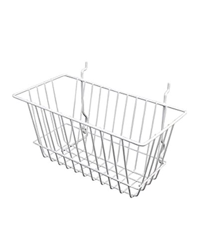 AMKO BSK17/WTE Narrow Basket 12''(L) x 6''(W) x 6''(H), White Color, Metal Construction, Durable, Spacious, Easily Attach to Pegboard, Slatwalls, Or Grid Wall, Attractive Look, pounds (Pack of 6) by AMKO Displays