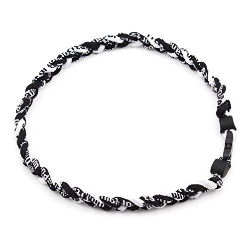 Tinksky Titanium Sports Necklace Ionic Braided Titanium Baseball Necklace Softball Soccer (Black)