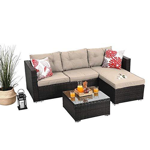 PHI VILLA 3-Piece Outdoor Rattan Sectional Sofa- Patio Wicker Furniture Set, Beige