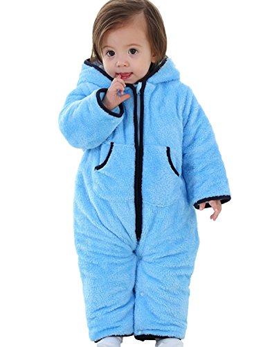 Kidsform Infant Winter Snowsuit Baby Bear Romper Outfit Fleece Bunting Pram Suit Outerwear Coat Jumpsuit Overalls 0-24M Blue 6-12M (Suit Romper Fleece)