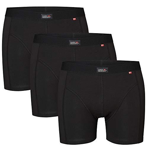 DANISH ENDURANCE Herren Boxershorts, 3er Pack Classic Unterhosen aus weicher Baumwolle, Retroshorts, Cotton Essential, Schwarz, Grau, Blau