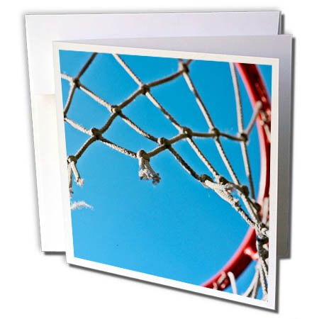 3dRose Alexis Photography - Objects - Basketball hoop and net as viewed from bottom-up, blue sky - 6 Greeting Cards with envelopes (Bottom Hoop)