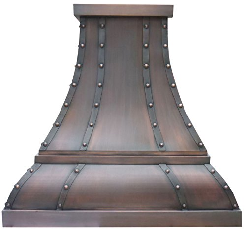 Sinda H1STR Copper Vent Hood with Decorative Straps, Rivet AND Trim Design Includes Stainless Steel Range Hood Liner and Internal Powerful Motor Fan Decorative Island Hood Liner