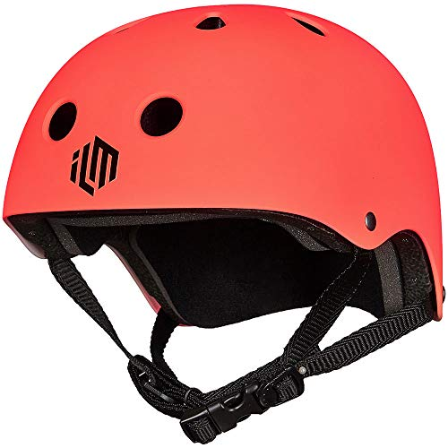 ILM Skateboard Helmet CPSC Certified Impact Resistance Ventilation for Cycling Skateboarding Scooter Outdoor Sports (Orange, L/XL)