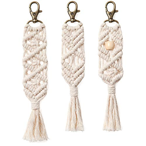 Mkono Mini Macrame Keychains Boho Macrame Bag Charms with Tassels Handcrafted Accessory for Car Key Purse Phone Wallet Unique Wedding Gift, Natural White, 3 Pack