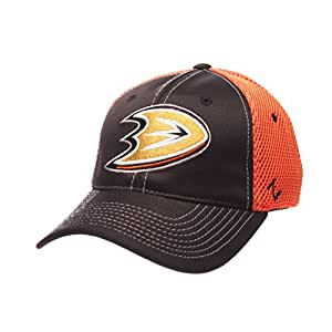 NHL Anaheim Ducks Men's Rally Z-Fit Hat, Medium/Large, Black/Orange