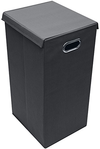 Sorbus Laundry Hamper Sorter with Lid Closure – Foldable Hamper, Detachable Lid, Portable Built-in Handles for Easy Transport – Single (Black)