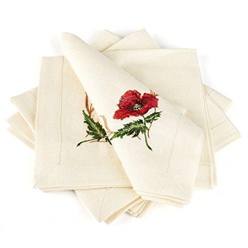 - Pure Linen Napkins Set (4 pcs) with Embroidery / 40x40 cm (16