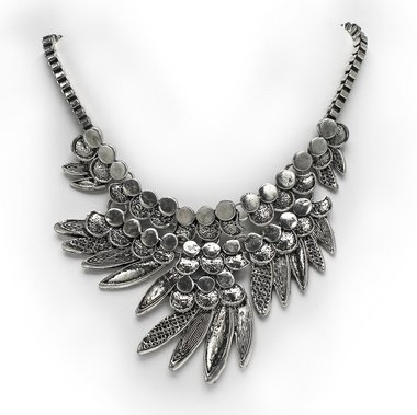Patterns Of Grace Silver Toned Box Chain Leaf Necklace (The Digital Angel)
