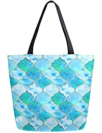 Stylish Green Eastern Tiles Pattern Extra Large Canvas Market Beach Travel Reusable Grocery Shopping Tote Bag Portable Storage HandBags
