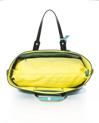 TWIST BAG HPO - Shopping Bag L reversibile Made in Italy turchese / giallo gum & neoprene