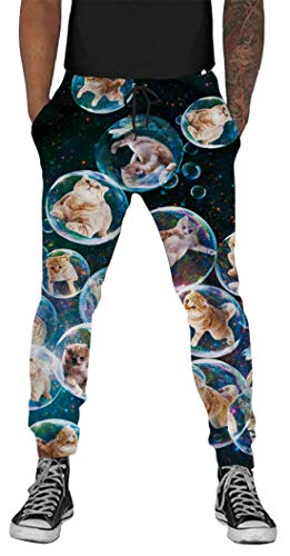 Belovecol Galaxy Bubble Cat Graphic Pants for Teen Boys Girls Juniors 3D Printed Colorful Active Sweatpants Exercise Casual Joggers S