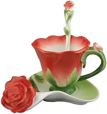 Amazon Com Beddinginn Chinese Tea Cup Set Flower Teacups And Saucer Sets Rose Shape Porcelain Coffee Mug With Spoon Red Cup Saucer Sets