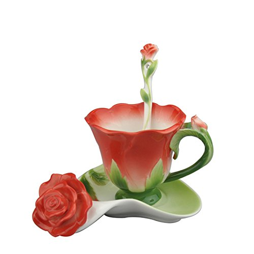 Beddinginn Chinese Tea Cup Set Flower Teacups And Saucer Sets Rose Shape Porcelain Coffee Mug With Spoon (Red)