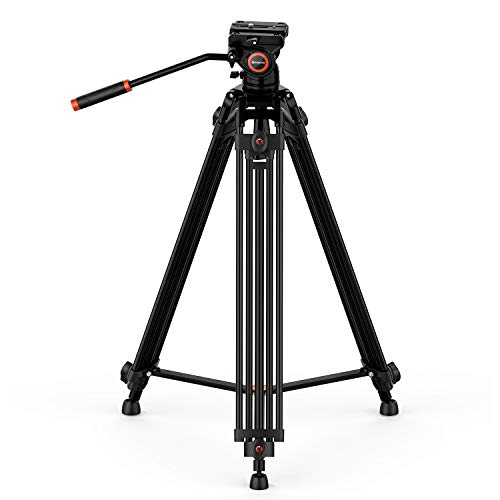 GEEKOTO Video Tripod, 72 inches Heavy Duty Aluminum Twin Tube Tripod with a Large Load Capacity up to 33 Pounds, Mid-Level Spreader, 360 Degree Fluid Head for DSLR Camcorder and Cameras