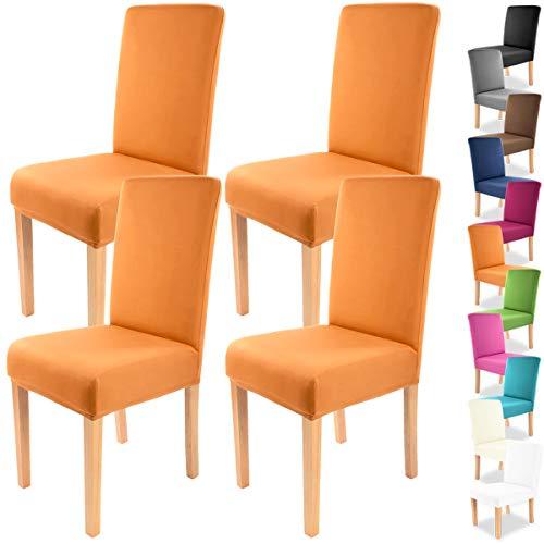 Grafenstayn 4pcs Fundas para sillas elasticas Charles - respaldos Redondos y angulares - Paquete Benefit - Ajuste bi-elastico con Sello Oeko-Tex Standard 100:Confianza verificada (Naranja)