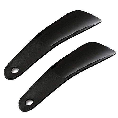 BraveWind 2 PCS Black Shoe Horn Plastic Shoe Horn Portable Size for Travel Use ()