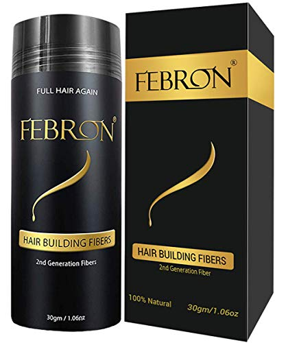 FEBRON Hair Building Fibers - Hair Loss Concealer For Thinning Hair - Giant 30gm Hair Powder Volumizing Based (Dark Brown) (Best Hair Loss Fibers)
