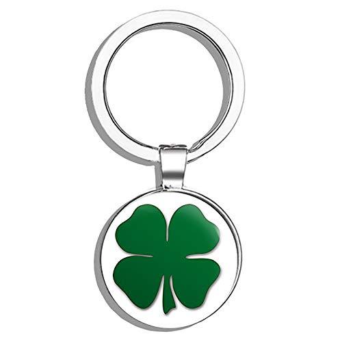 - HJ Media Green Shamrock Shaped (Lucky Irish Clover Boston) Metal Round Metal Key Chain Keychain Ring