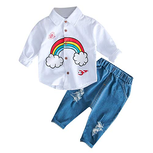 2PCS Toddler Kids Baby Outfit Onesies Boys Girls Rainbow T-Shirt Tops Ripped Jeans Pants Outfits Set Age:6M-3 Years (18-24 Months (24M), White)