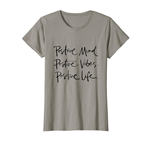 bee022700 Womens POSITIVE T-SHIRT MIND VIBES LIFE Tee Positive outlook Large Slate