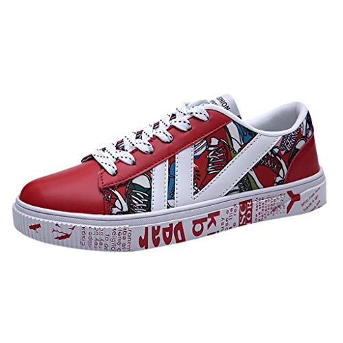 Mysky Fashion Men Casual Print Comfortable Running Hiking Shoes Men Summer Breathable Lace Up Sneakers Red
