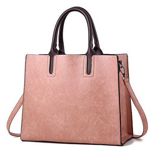 Sac fourre-tout Pu Femme Sac Simple 2019 Sac à bandoulière grande capacité, rose clair, hlh Rose pâle