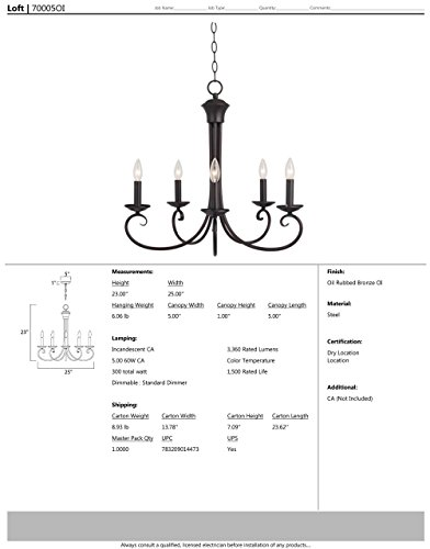 Maxim 70005OI Loft 5-Light Chandelier, Oil Rubbed Bronze Finish, Glass, CA Incandescent Incandescent Bulb , 60W Max., Wet Safety Rating, Standard Dimmable, Glass Shade Material, 672 Rated Lumens by Maxim Lighting (Image #1)