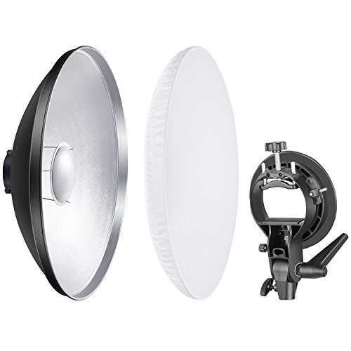 Neewer Photo Studio 16 inches/41 Centimeters Beauty Dish Aluminum Lighting Reflector with White Diffuser and S-Type Flash Speedlite Bracket Bowens Mount for Nikon Canon Sony and Other DSLR Cameras