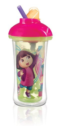 Munchkin Dora The Explorer Click Lock Insulated Straw Cup, 9 Ounce (Pack of 2)