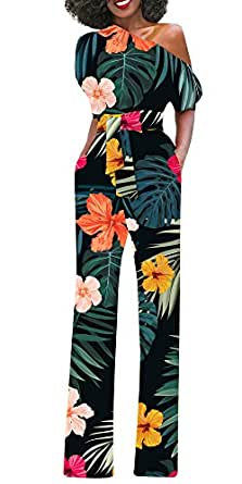 Imysty Womens Sexy One Shoulder Jumpsuits Floral Wide Leg Romper Pants with Belt