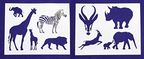 Safari Animal Stencils - Safari Animals Stencils - 2 Piece Set - 8 X 10 Inches