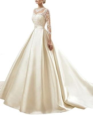 MengLu Elegant Satin Laces A-line Wedding Dress Scoop 3/4 Sleeve Bridal Gown