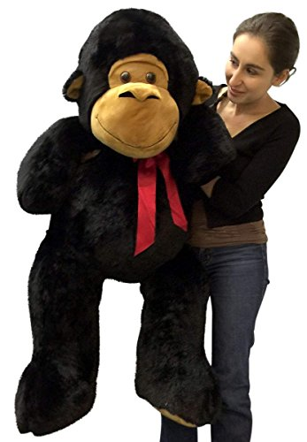 Stuffed Monkey 4 Feet Tall Soft Large Black Plush Animal 48 Inches