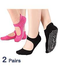 TaiDiKing Calcetines de Yoga Antideslizantes para Pilates, Barra de Ballet con empuñaduras de algodón para Mujeres y Hombres (Rosa y Negro)