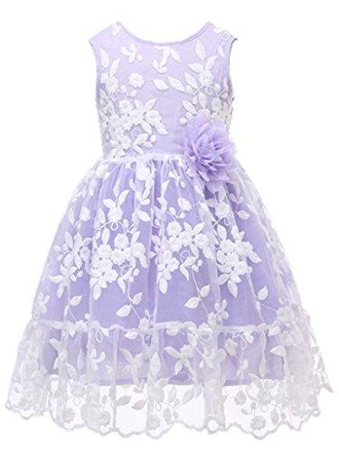 (Bow Dream Rustic Flower Girl Dress Bridesmaid Lace Lavender)