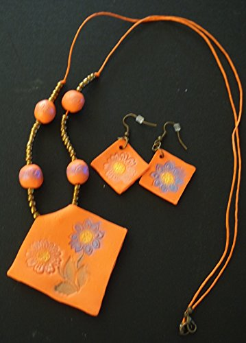 Polymer Clay Women Necklace and earrings set, (Boutique Polymer Clay)