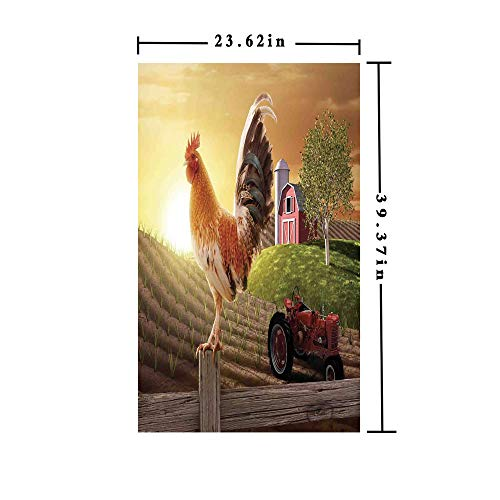 Window Film Decorate Glass Film 3D Printed,Farm Barn Yard Image Kitchenware and Home Decor Rooster Early Bird Natural Sunrise,W15.7xL63in,for Bathroom Bedroom Living Room with Light Brown Red (3d Printed Glasses)