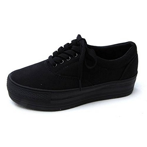 Sneakers Canvas Simple (EpicStep Women's Black Casual Comfort Simple Canvas Lace up Thick Soles Shoes Fashion Sneakers Trainers 6.5 M US)