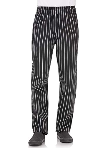 Chef Works Men's Designer Baggy Chef Pants, Black W/Chalk Stripe, X-Large from Chef Works