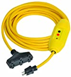 Tower Manufacturing 30338302-01 25' Length, 15 amp In-Line GFCI And Triple Tap Cord Set With Auto Reset