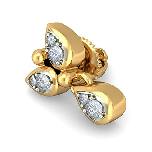 14K Or jaune 0.11CT TW White-diamond (IJ | SI) Pendants d'oreilles