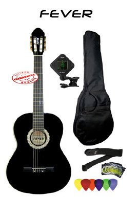 Fever Full Size Nylon Classical String Guitar Package Black with Bag Set of Strings Chromatic Tuner Strap And Picks SL-039-BK-PACK by Fever