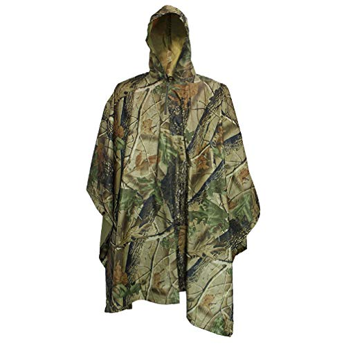 Raincoat Mens Camouflage (Luwint Multifunction Camouflage Rain Poncho Waterproof Raincoat Hooded Lightweight Travel Rainwear Jacket for Hiking Hunting Camping Fishing Military Outdoors (Maple Leaf))