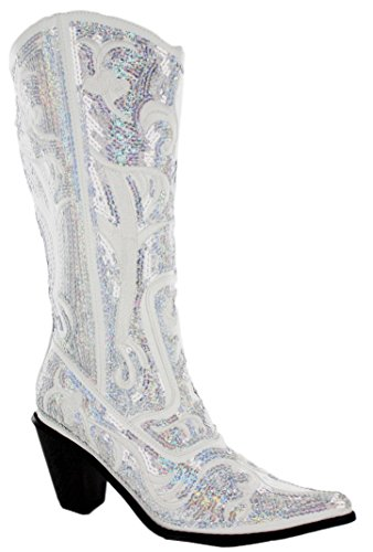 HELENS HEART 0290-12 WHITE WOMENS WESTERN BOOT Size 8M - White Boots With Heart