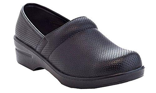 Rasolli Women's Perforated Slip On Clogs Mules Black