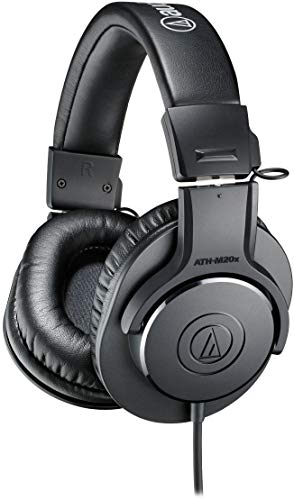 (Audio-Technica ATH-M20x Professional Studio Monitor Headphones, Black)