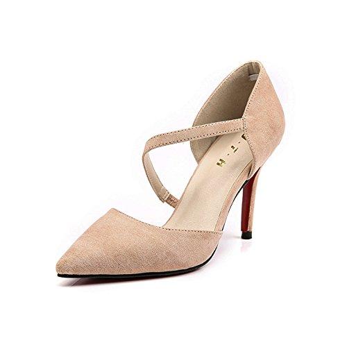 ZHUDJ Meine Damen_Sommer Schuhe Stilettos Mit Einem Hohlen Wies Frau Thirty-five