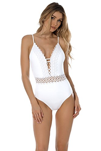 Becca by Rebecca Virtue Women's Siren One Piece Plunge Swimsuit White L by Becca by Rebecca Virtue